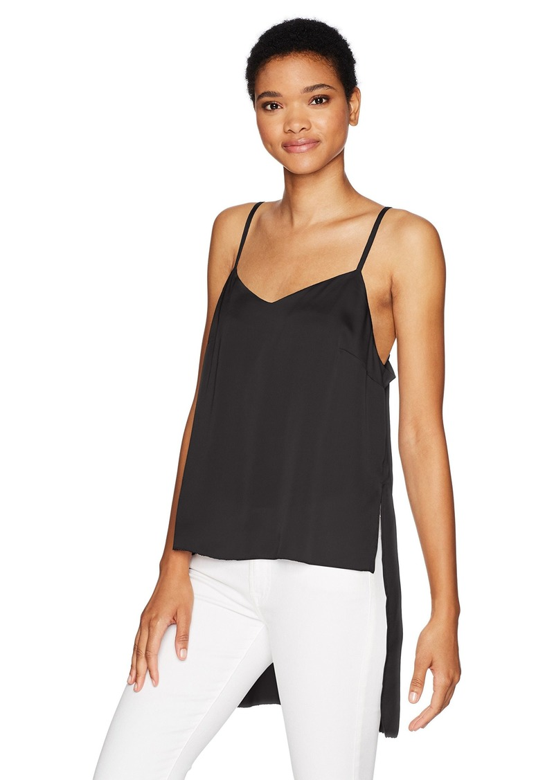 kensie Women's Shiny Polyester Spaghetti Strap Top with High Low Hem  L