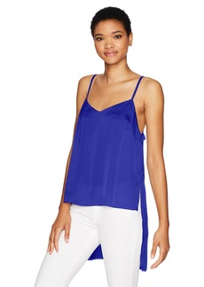 kensie Women's Shiny Polyester Spaghetti Strap Top with High Low Hem  XS