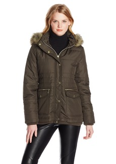 Kensie Women's Short Down Coat with Suede Trim