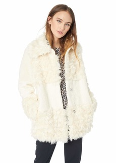 kensie Women's Short Fuax Fur Coat with Large Notch Collar and Lapel  Extra