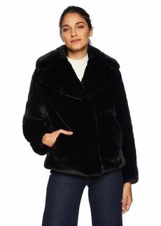 kensie Women's Short Fuax Fur Coat with  Notch Collar and Lapel