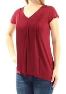 kensie Women's Short Sleeve Flutter Rib Jersey Top  XL