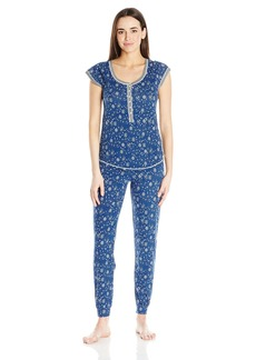 Kensie Women's Short Sleeve Novelty Knit Pajama Set