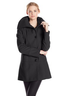 kensie Women's Single-Breasted Wool-Blend Coat with Oversized Collar