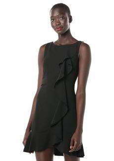 kensie Women's Sleeveless Shift Dress with Ruffle Detail