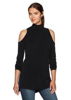 kensie Women's Slinky Cold Shoulder Mock Neck Tunic Top  XS