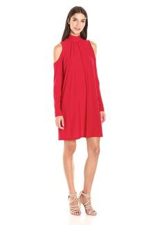 Kensie Women's Slinky Knit Cold Shoulder Long Sleeve Dress  S