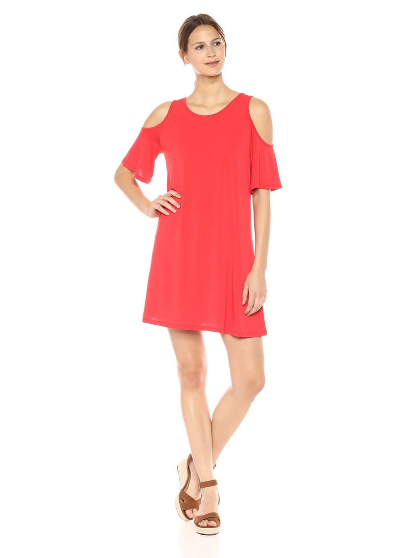 kensie Women's Slinky Knit Cold Shoulder Short Sleeve Dress red Pepper M