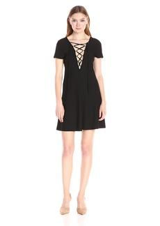 kensie Women's Slinky Knit Lace Up Dress