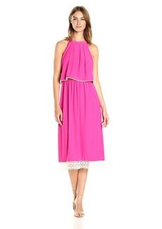 kensie Women's Slinky Knit Midi Halter Dress With Pop Over Bodice  M