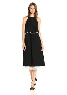 Kensie Women's Slinky Knit Midi Halter Dress with Pop Over Bodice  XS