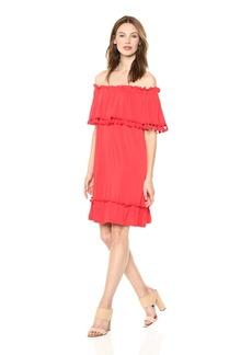 kensie Women's Slinky Knit Tassel Dress red Pepper L