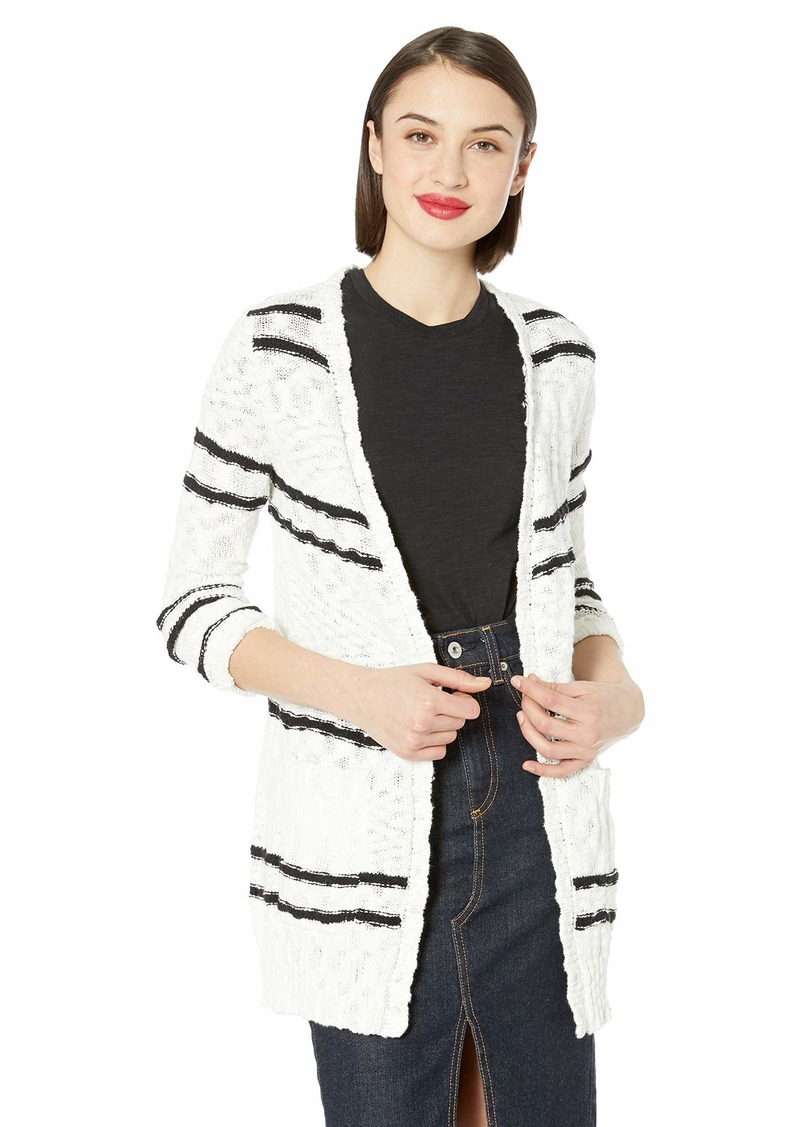 kensie Women's Slub Knit Striped Cardigan  L
