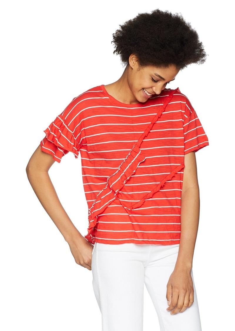 kensie Women's Slub Ruffle Tee Shirt red Pepper Combo XL