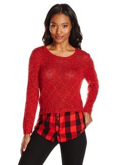 kensie Women's Slub Twist Combo Sweater Paprika