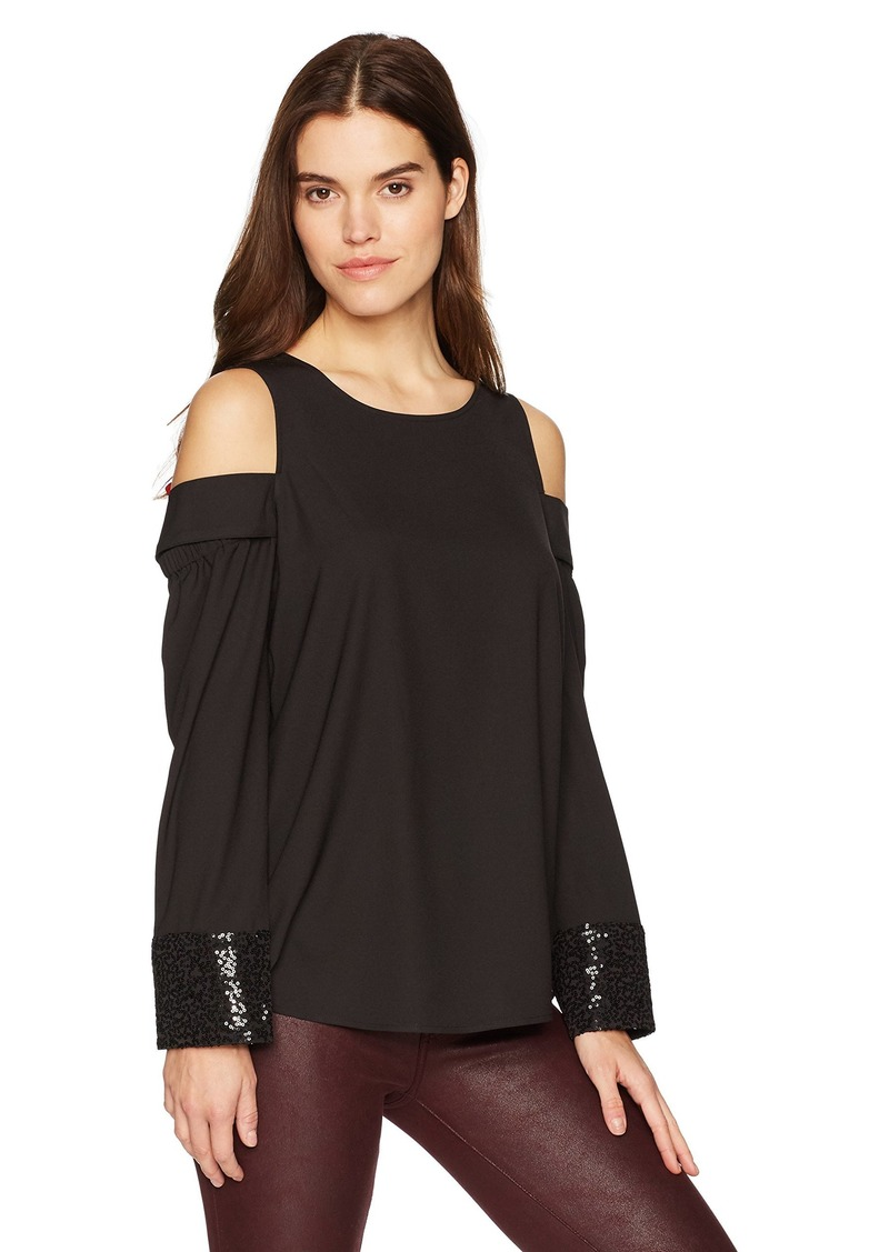 kensie Women's Smooth Stretch Cold Shoulder Crepe Top  L