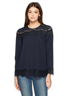 kensie Women's Smooth Stretch Crepe Long Sleeve Lace Top  L