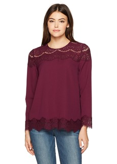 Kensie Women's Smooth Stretch Crepe Long Sleeve Lace Top  M