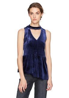 kensie Women's Smooth Velvet Gigi Neckline Peplum Top  XS