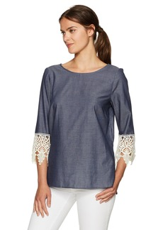 kensie Women's Soft Chambray Top  M