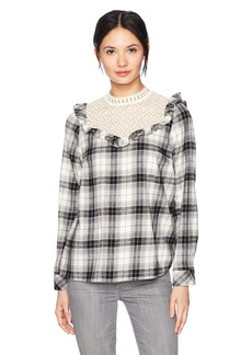 kensie Women's Soft Plaid Ruffle Top  S