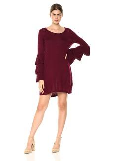 Kensie Women's Soft Sweater Tiered Bell Sleeve Dress  L