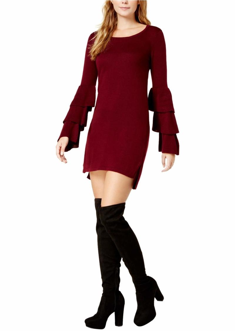 kensie Women's Soft Sweater Tiered Bell Sleeve Dress  M