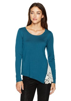 kensie Women's Soft Sweater with Eyelet Lace Side  M