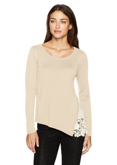 Kensie Women's Soft Sweater with Eyelet Lace Side  S