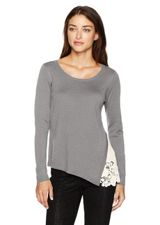 kensie Women's Soft Sweater with Eyelet Lace Side  XL