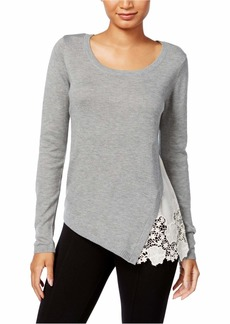 kensie Women's Soft Sweater with Eyelet Lace Side  XS