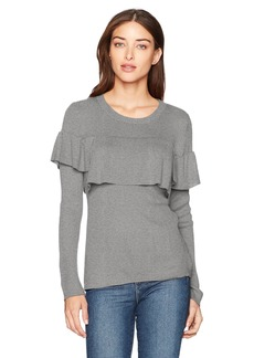 kensie Women's Soft Sweater with Pop Over Ruffle Layer  XS