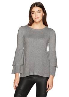 kensie Women's Soft Sweater with Ruffle Sleeve  XS