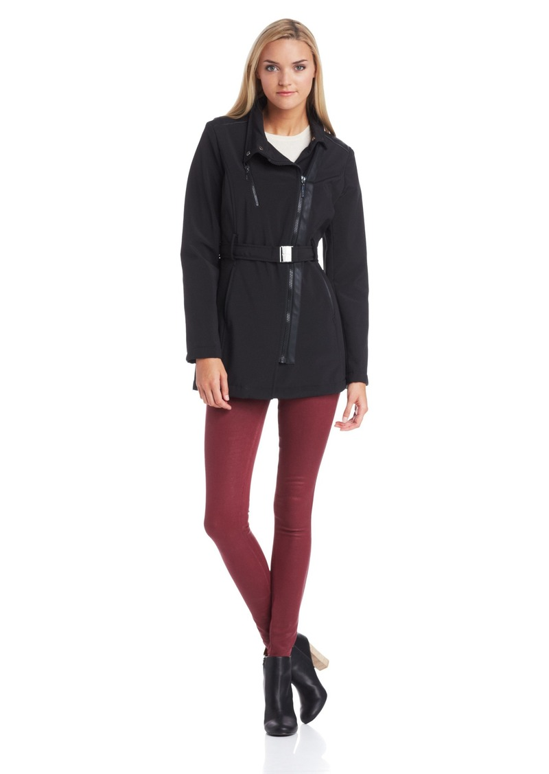 kensie Women's Softshell Trench Coat with Trim