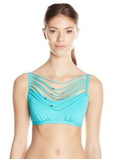 Kensie Women's Solid Beaded Necklace Bikini Top