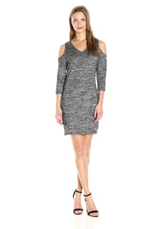 Kensie Women's Space Dye Jersey Dress with Cold Sholder  L