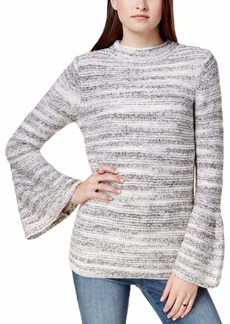 kensie Women's Space Dye Punk Yarn Sweater with Bell Sleeve  L