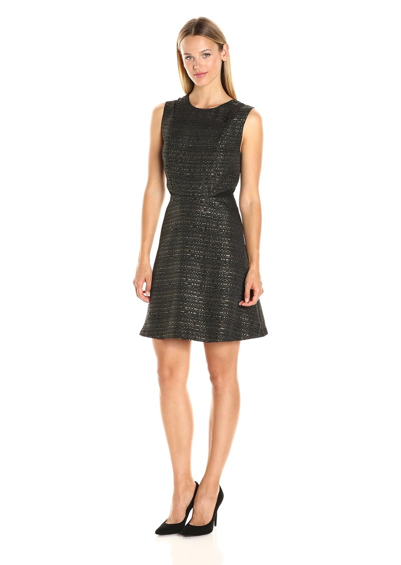 kensie Women's Sparkle Sleeveless Fit and Flare Dress  M