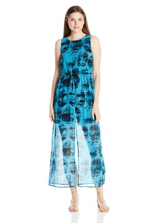 Kensie Women's Stamped Circles Print Maxi Dress