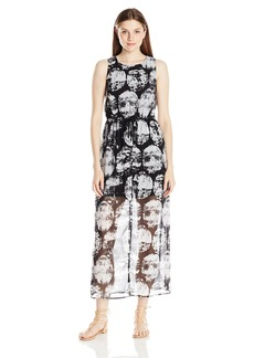kensie Women's Stamped Circles Print Maxi Dress