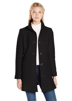 Kensie Women's Stand Collar Button Up Wool Skirted Coat-j9401