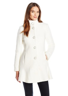 Kensie Women's Stand Collar Button up Wool Skirted Coat-l9401