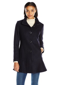 kensie Women's Stand Collar Button up Wool Skirted Coat-l9401  L