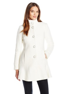 kensie Women's Stand Collar Button up Wool Skirted Coat-l9401  S