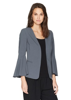kensie Women's Stretch Crepe Blazer with Bell Sleeve  L