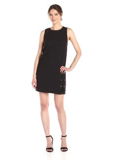 Kensie Women's Stretch Crepe Lace up Shift Dress  M