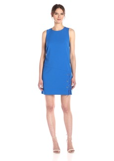 kensie Women's Stretch Crepe Lace Up Shift Dress  XS