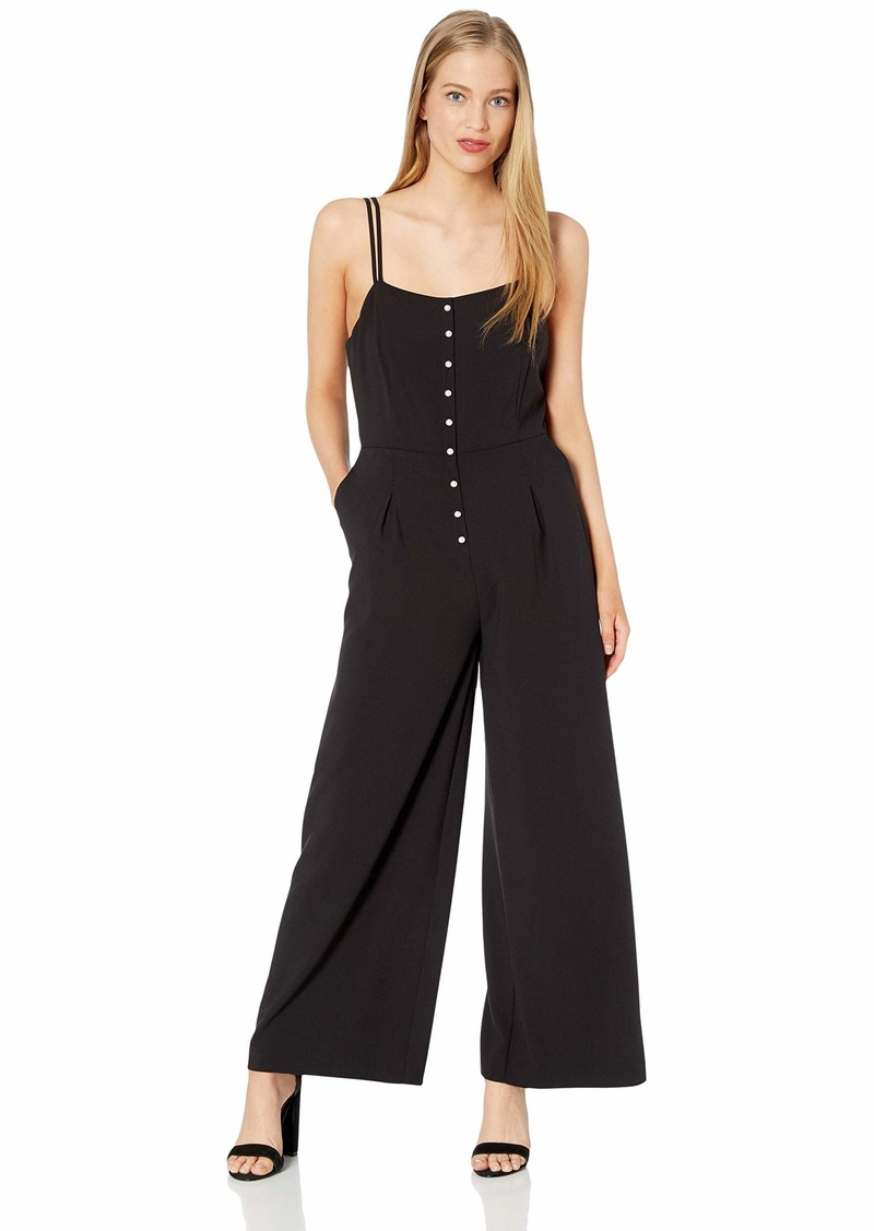 kensie Women's Stretch Crepe Pearl Button Jumpsuit  L