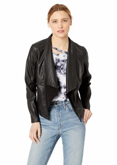 kensie Women's Stretch Faux Leather Jacket  S