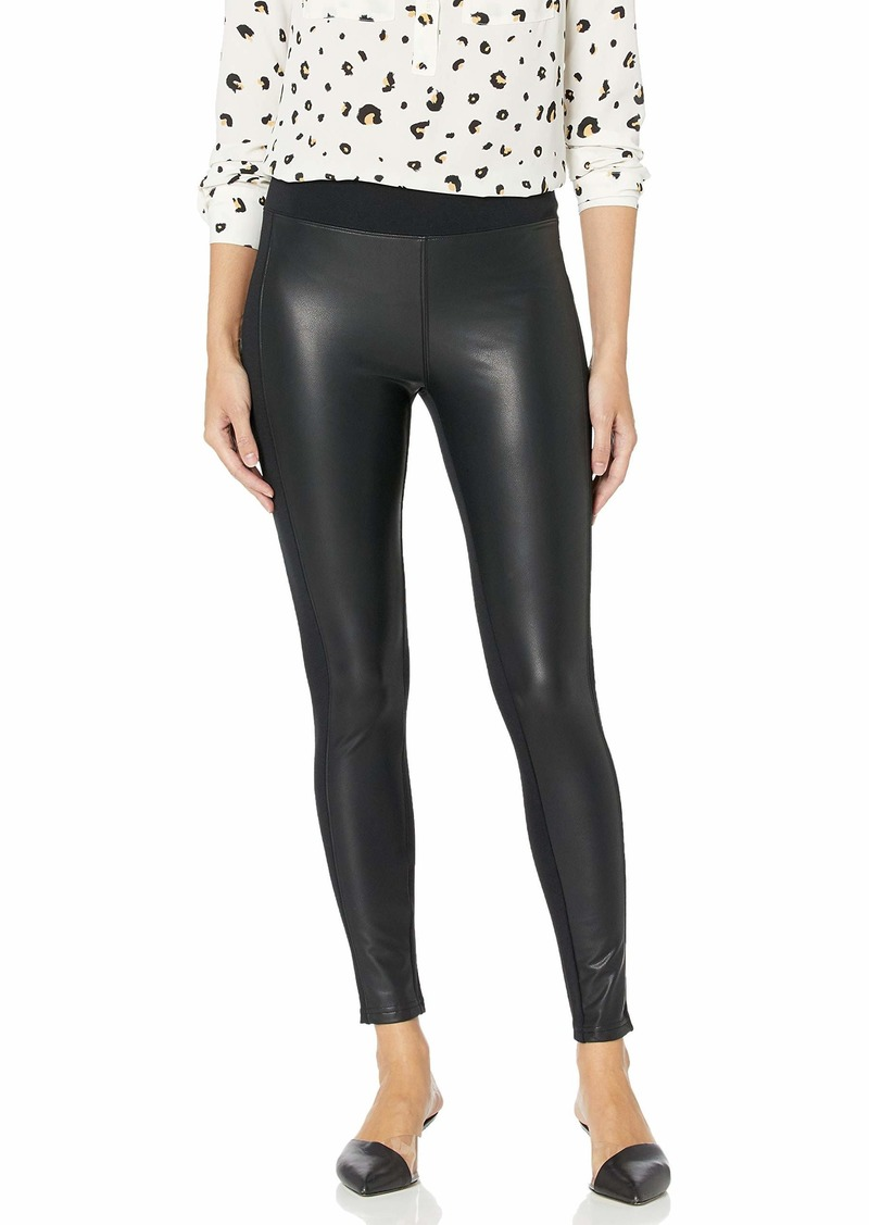 kensie Women's Stretch Faux Leather Ponte Pant  Extra Large